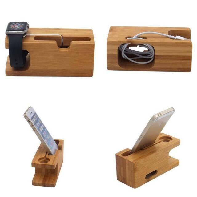 Bamboo Charging Dock Station Phone Holder Bracket Smart Watch Cradle Stands u