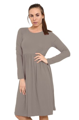 Women Long Sleeve Smock Swing Dress Flared Skater Jersey Long Sleeve Midi Plus