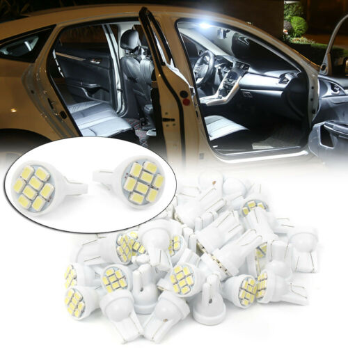 50x T10 Wedge LED 8-SMD 5050 Interior Light Super Bright 6500K for License Plate