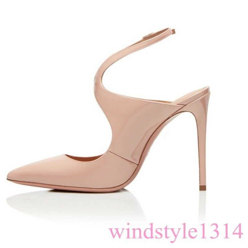 Womens Super High Heel Stiletto Pointy Toe Buckle Buckle Buckle Strap Sexy Pumps shoes Leather 127131