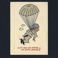 Fallschirm FALLSCHIRMSPRINGER / PARACHUTIST Parachute * Humor AK um 1950 Humour