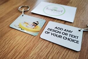 Personalised metal Photo Keyring Any Picture Custom Keychain Double-Sided Print