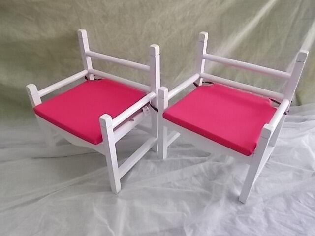 Paire de FAUTEUILS pour enfant avec coussins rose fauteuil. 46 cm Bois