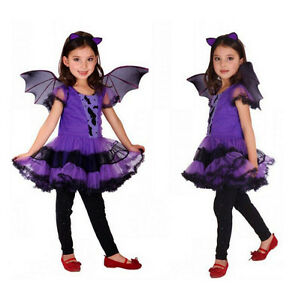 Image is loading Halloween-Girls-Fancy-Dress-Up-Costume-Outfits-Ballerina-  sc 1 st  eBay & Halloween Girls Fancy Dress Up Costume Outfits Ballerina Bat Child ...
