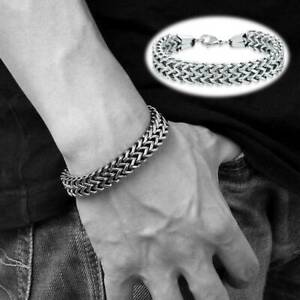 Heavy-Stainless-Steel-Square-Curb-Wheat-Chain-Link-Bracelet-Men-039-s-Bangle-Silver