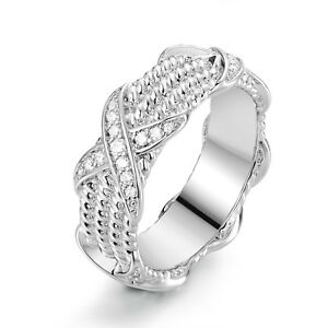 Rhodium-Plated-Cubic-Zirconia-Three-Row-Braided-Ring