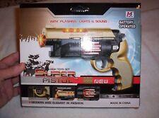 Toy plastic battery operated REVOLVING gun FLASHING Lights Age 3-10 #3302 11oz