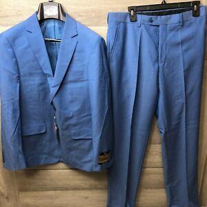 Bertolini Mens Blue Silk Wool Blend Two Piece Suit New Size 48 Jacket Long Ebay