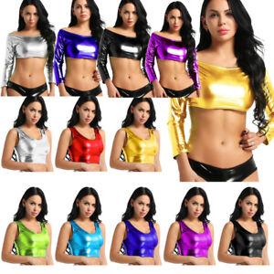 Sexy-Womens-PU-Leather-Metallic-Wet-Look-Sleeveless-Tank-Tops-Clubwear-Crop-Tops