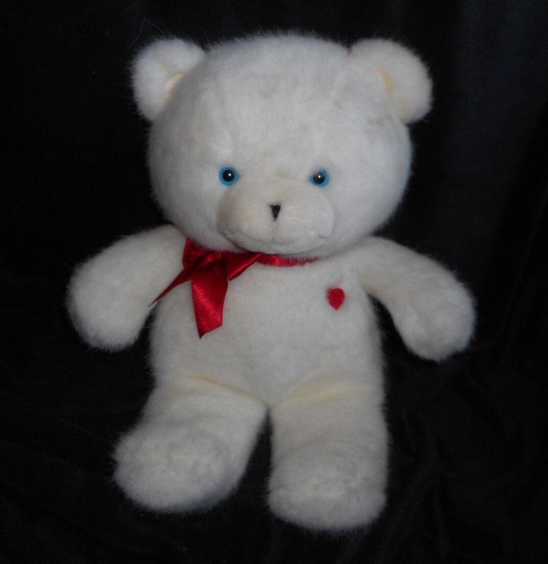 VINTAGE 1985 EMOTIONS MATTEL BABY WHITE TEDDY BEAR STUFFED ANIMAL PLUSH TOY RED