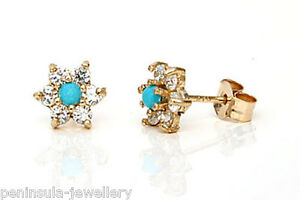 9ct-Gold-Turquoise-and-CZ-Cluster-studs-Earrings-Gift-Boxed-Made-in-UK