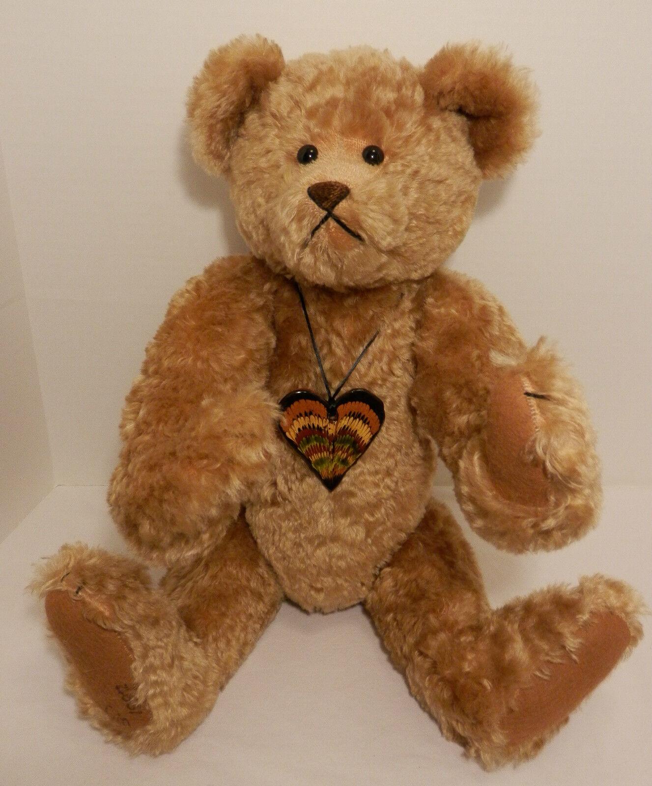 Caramel 21  Bear w/Clay Heart - Lin & Gareth Davies of Lin Wildlife Friends 1997