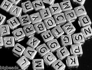 500 unidades 6mm cubitos plateado color chapado letras alfabeto