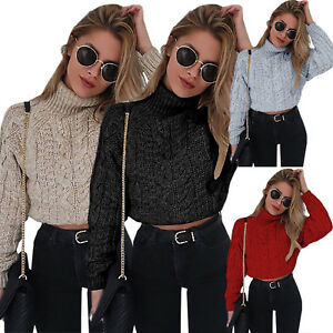 04499bc18 Image is loading Womens-Turtleneck-Knitted-Crop-Top-Sweater-Sweatshirt- Winter-