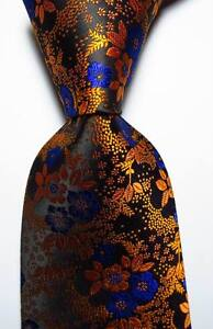 New-Classic-Floral-Gold-Black-Blue-JACQUARD-WOVEN-100-Silk-Men-039-s-Tie-Necktie