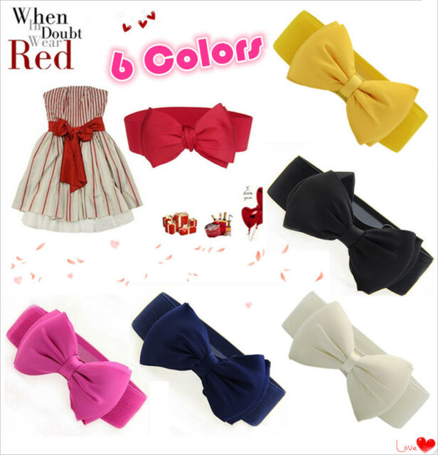 Sweet Women Chiffon Bowknot Elastic Bow Wide Stretch Buckle Waistband Waist Belt