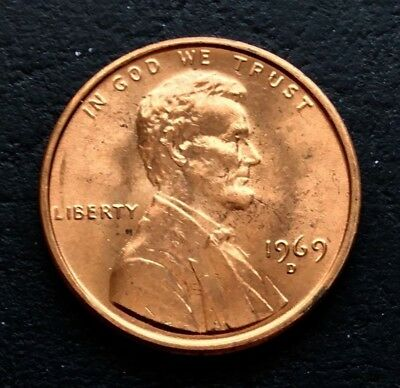2x 1969-D LINCOLN CENT UNC FULL RED FROM OBW ROLL WOW LOOK