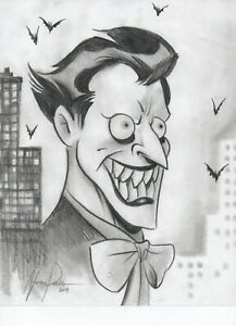 Joker Original Art Pencil Sketch Drawing Comic Parrish Dc Batman Head Shot Clown Ebay