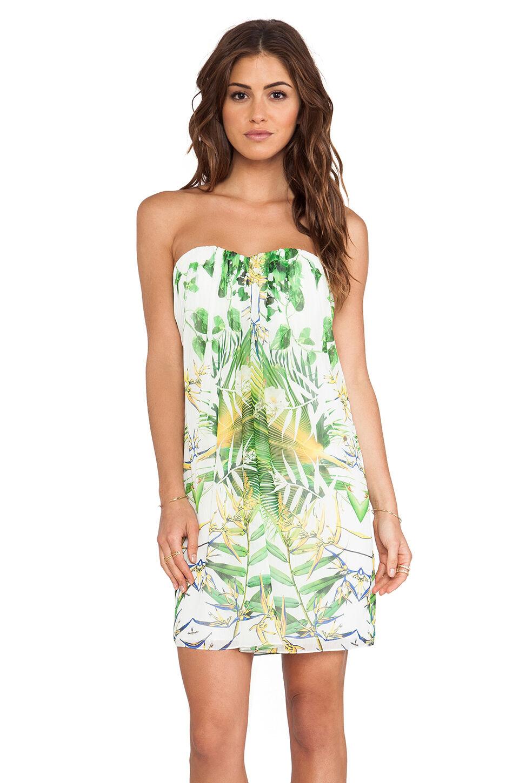 NEW Alice + Olivia Jazz Center Strapless Dress -Sunburst Palm Größe 2