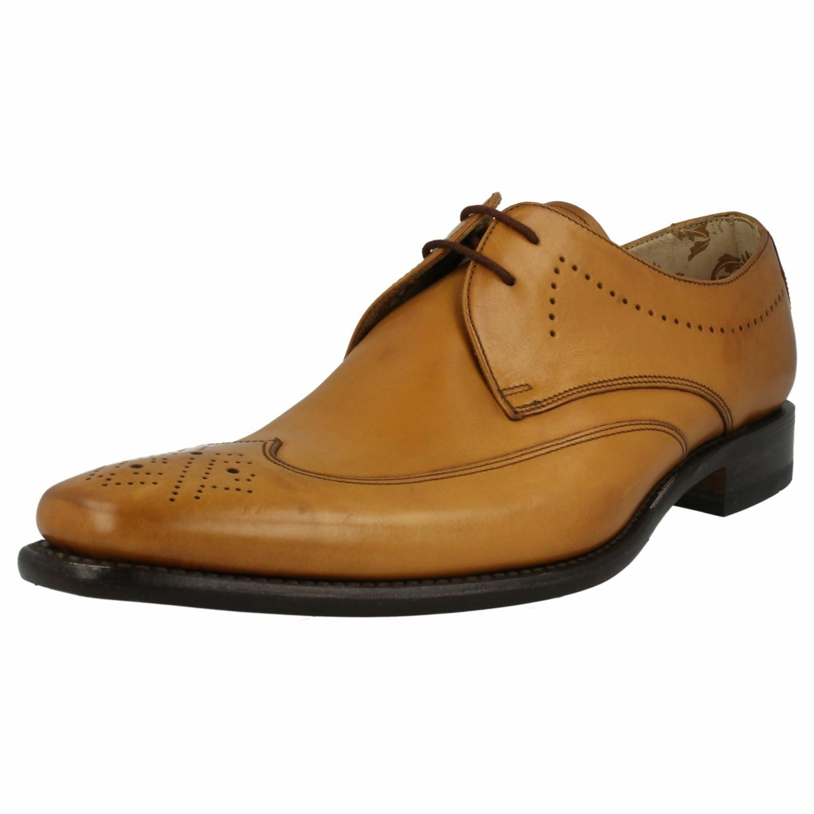 Design Loake Stitch Marrone Chiaro Stringati In Pelle Derby Brogue Scarpe Scarpe classiche da uomo