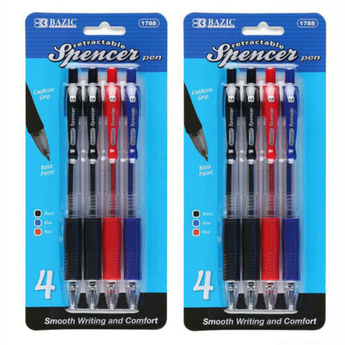 Retractable Spencer Ballpoint Pens Black Blue Ink 2 Pack 8 Pens LOT of 2 Red
