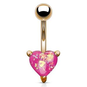 316L Surgical Steel Gold Ion Plated Belly Ring Large Round Prong Set Clear Gem