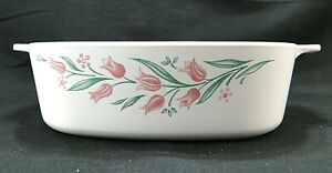 Corning Ware Rosemary Pink Tulip A-2-B Casserole Dish Free Shipping