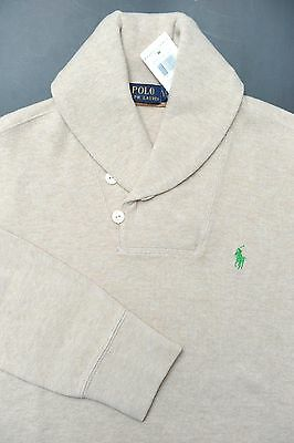 NWT Polo Ralph Lauren Men's Shawl Collar Light Beige Cotton Sweat Sweater Small