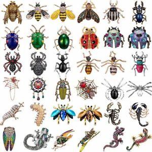 Crystal-Pearl-Insect-Scorpion-Bee-Beetle-Silkworm-Brooch-Pin-Women-Men-Jewellery