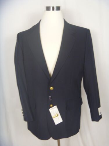 NEW HARGIO Mens Blazer Navy Blue Jacket Sport Coat 40R Gold Buttons  NEW