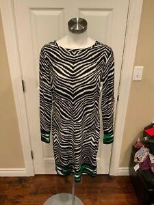 Michael Michael Kors Black & White Zebra Print Dress w/ Green Trim, Size M