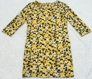 H&M Dress Woman's Yellow White Gray Black 3/4 Sleeve Size Four 4 Polyester Blend