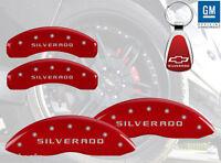 14-15 Chevrolet Silverado 1500 Red Brake Caliper Cover Front Rear Free Keychain