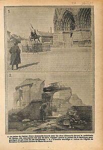Statue-Jeanne-d-039-Arc-Cathedrale-Notre-Dame-de-Reims-Ruines-WWI-1915-ILLUSTRATION