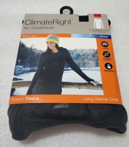 Climateright Cuddl Duds Stretch Polaire à Manches Longues Ras Du Cou Noir Small S Top Shirt