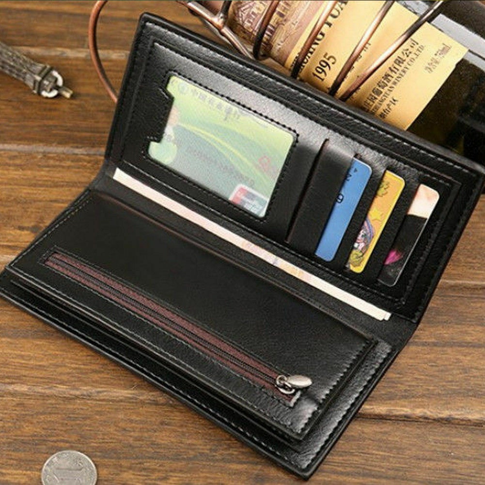 Long Wallet for Men Leather Bifold Clutch ID Card Holder Billfold Coin Purse Bag