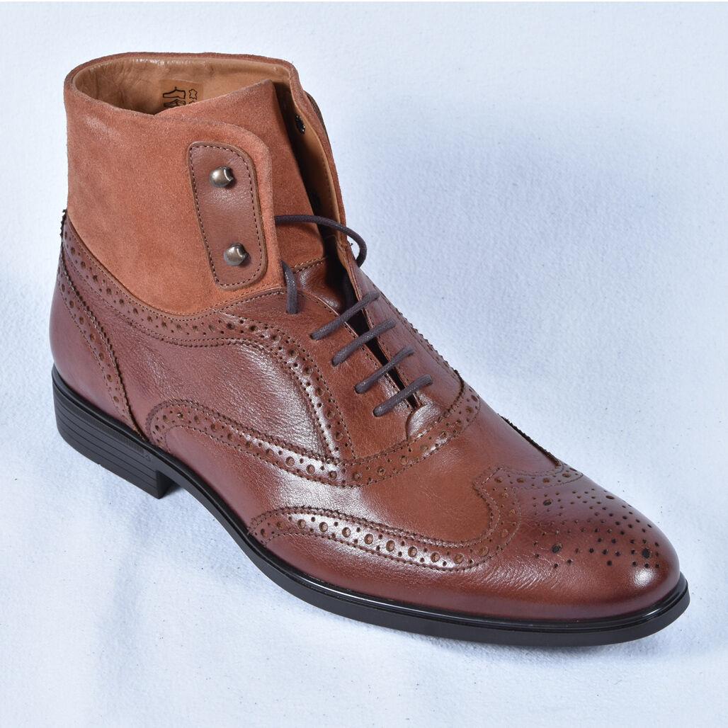Herren Schuhe Stiefel Boots Budapester Braun Neu Leder cognac 41 42 43 44