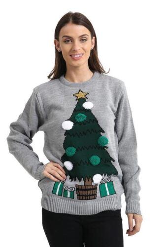 NUOVO Unisex Donne Donna a Maglia Di Natale Albero Natale Pom Pom Maglione Top Maglione