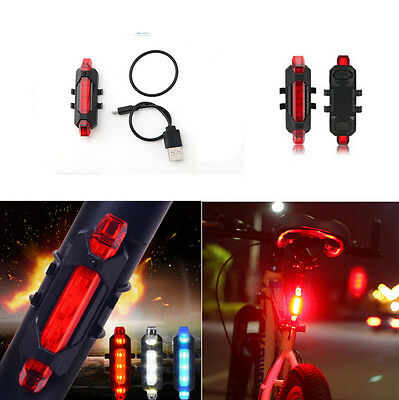 Red Bike Tail Bicycle Cycling USB Rechargeable Rear Safety Warning Light 2016