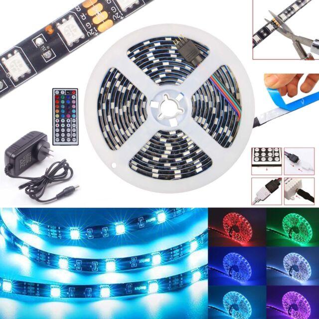 Waterproof 5050 RGB 1-30M LED Strip Light Black 12V 44keys IR Controller Adapter