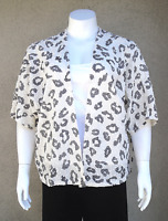Women' Plus Size Black White Leopard Print Open Cardigan In Sizes 1x 2x 3x
