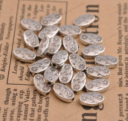 50Pcs Tibetan Silver Oval shaped Flower pattern Spacer Beads 11X7MM A3101