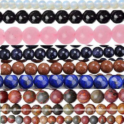Natural Quartz Agate Lapis Lazuli Amethyst Loose Gemstone Round Ball Beads Charm