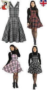 HELL-BUNNY-ISLAY-PINAFORE-DRESS-TARTAN-mini-CHECK-PINK-RED