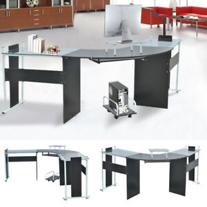 Office round corner desk l shaped glass top table pc gaming computer image is loading office round corner desk l shaped glass top watchthetrailerfo