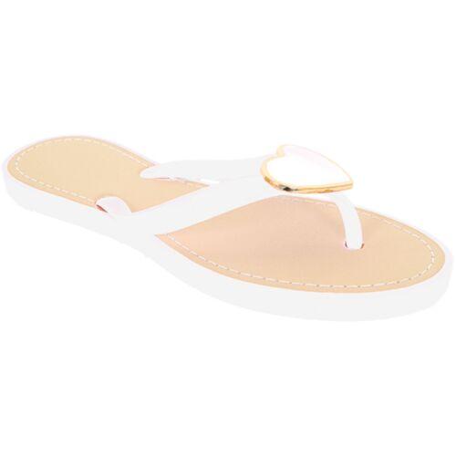 Women/'s Metal Heart Accent Jelly Strap Ladies Fashion Flip Flops Fashion Sandals