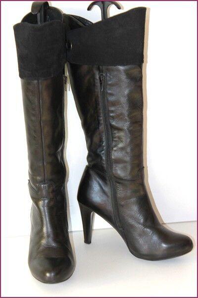 Vertigo Paris Stiefel mit Absätze schwarzes Leder gefüttert Leder t 39