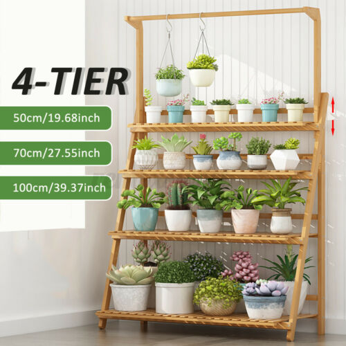 Bamboo Hanging Plant Stand Planter Shelves Flower Pot Organizer Storage Rack New