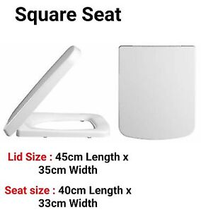 Image Is Loading SQUARE TOILET SEAT TC White Rounded Front Standard