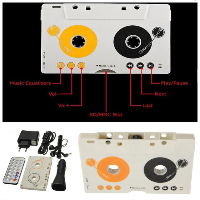 Car Telecontrol Tape Cassette SD MMC MP3 Player Audio Adapter Earphone Kit /&